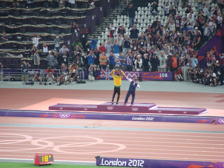 Saturday 11th August. Olympic Stadium. Mo & Bolt the two track stars of 2012 celebrate gold medals: London 2012, Gold Medal, Saturday 11Th, Celebrity Gold, 2012 Celebrity, Track Stars, 11Th August, Olympic Stadiums
