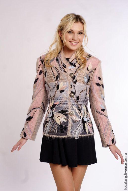"""Купить Жакет серо-розовый """"Миндаль"""" - бледно-розовый, женский жакет, дизайнерская одежда"""