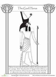 History students, enjoy a coloring page about ancient Egypt, where you'll read about one of the oldest Egyptian gods: Horus. Add in some colors as you learn about a deity that is well over 3,000 years old!