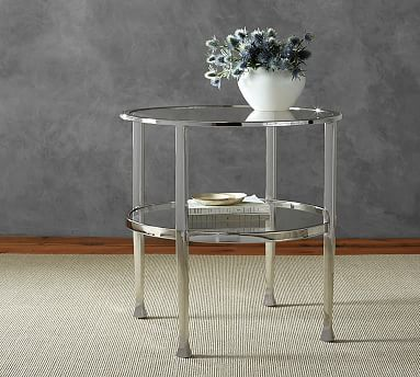 Exceptional Tanner Round Side Table, Nickel Finish
