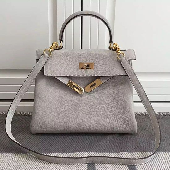 Kelly 28 Tote Bag in Light Grey Togo Leather HK0928  cf0e282259329