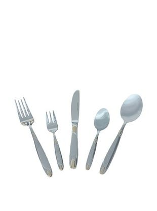 60% OFF BergHOFF 30-Piece Straight Flatware Set, Silver/Gold