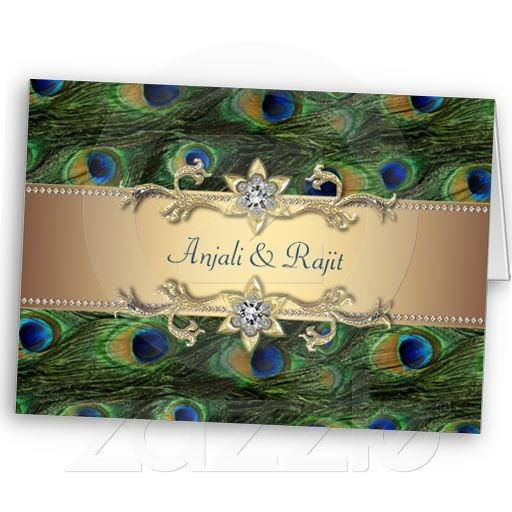Emerald Green Gold Royal Indian Peacock Wedding Greeting Card