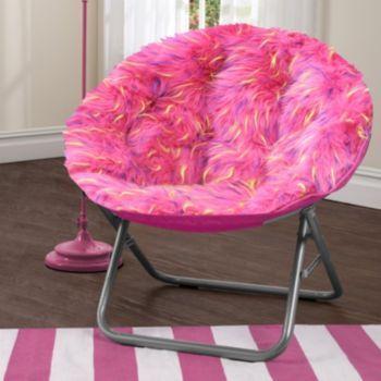 Urban Shop Faux Fur Saucer Chair, Black