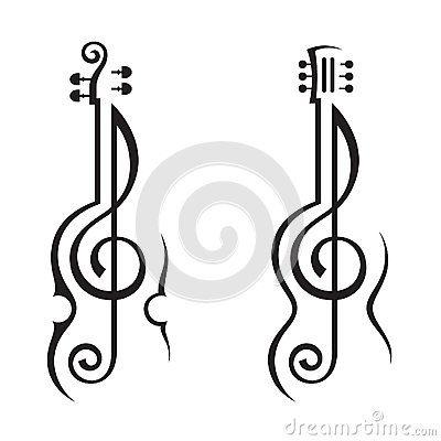 Violon, Guitare Et Clef Triple Photographie stock - Image: 28954072