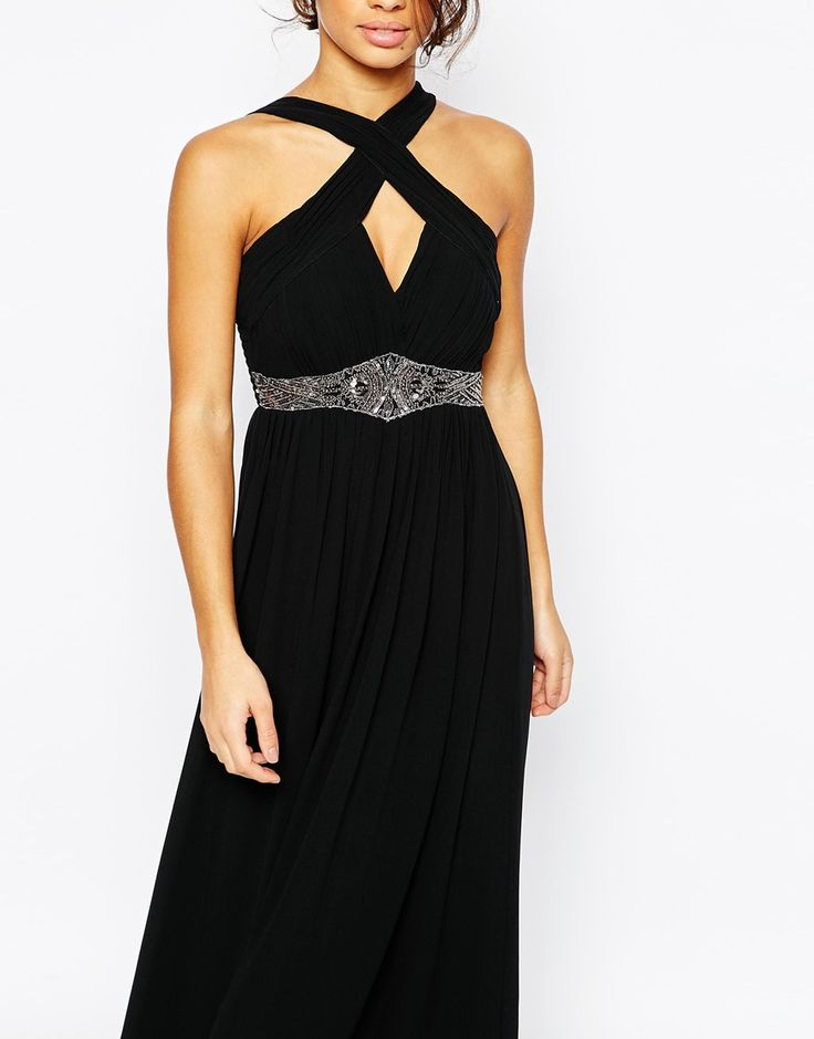 Image 3 of Little Mistress Petite Cross Front Halter Maxi Dress