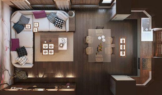 Дизайн-проект кухни-гостиной в доме из СИП панелей. Планировки