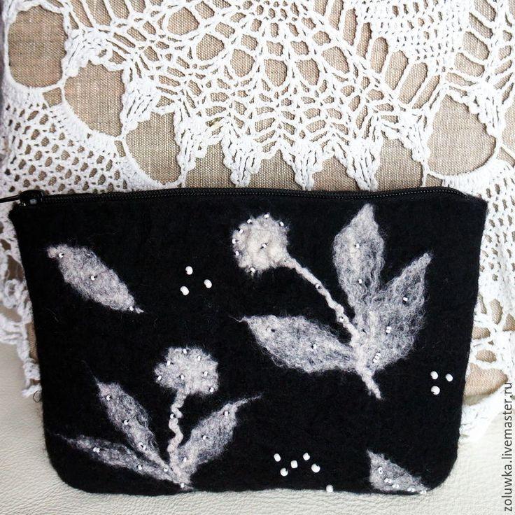 Купить Валяная косметичка Вальс цветов - разноцветный, женская сумка, ручная работа, сумка женская