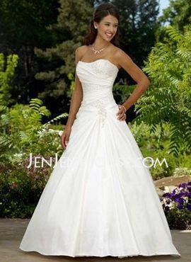 A-Line/Princess Sweetheart Chapel Train Satin Wedding Dresses With Ruffle Beadwork (002011522) JenJenHouse.com. Cute on top, but too poofy