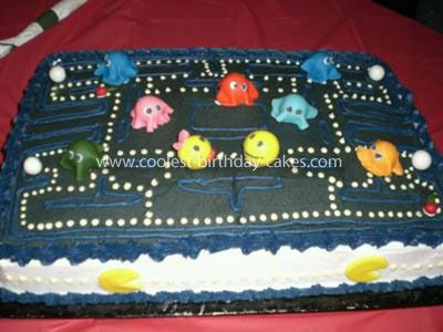 Coolest Pacman 35th Birthday Cake: I couldn't imagine what I asked my friend for when I said I wanted a Pacman 35th Birthday Cake. I was thinking, round cake with a slice cut out and yellow