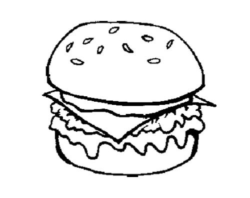 The Big Burger Junk Food Coloring Page Kids Coloring