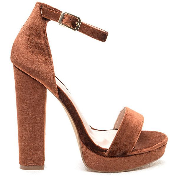 Velvet Touch Ankle Strap Platform Heels ($38) ❤ liked on Polyvore featuring shoes, sandals, brown, strappy platform sandals, brown sandals, platform sandals, chunky heel sandals and strap sandals