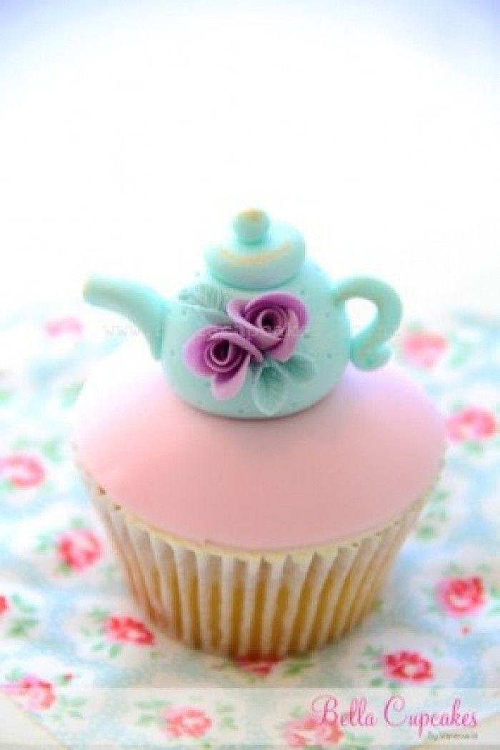 cupcake met een theepotje, uitstekend voor bij de high tea
