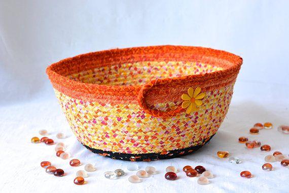 "Use Etsy Discount Coupon Code ""pinten""      Candy Corn Basket Handmade Halloween Bowl Fall Decoration"