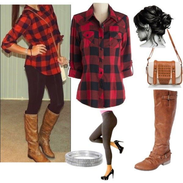 Modern Lumberjack, so cute, I love the #redplaid mixed with brown boots and black #Leggings