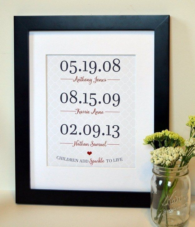 A personalized print featuring all of the kids' birth dates.