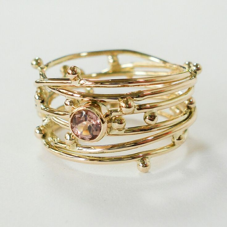 """""""Threads of life"""" ring in rose gold with a pink tourmaline. Www.hoogenboombogers.com"""