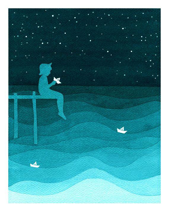 Print teal sea sailboat nursery nautical art illustration wall decor watercolor painting by VApinx
