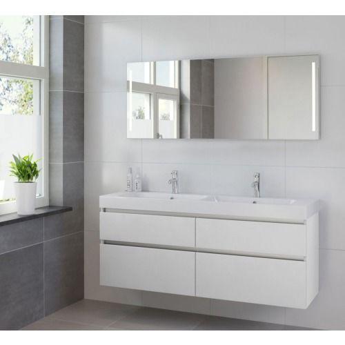 Bruynzeel Pinto meubelset 150cm dubbele wastafel spiegel led wit - 223080k - Sanitairwinkel.be