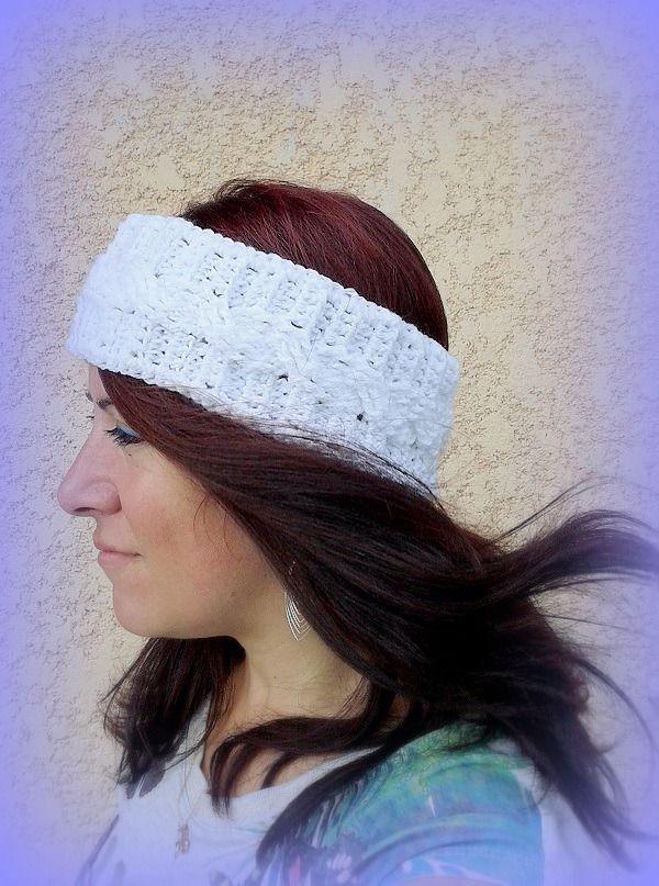 Bandeau torsade blanc tricoté main au crochet unique créateur France : Chapeau, bonnet par c-comme-celine