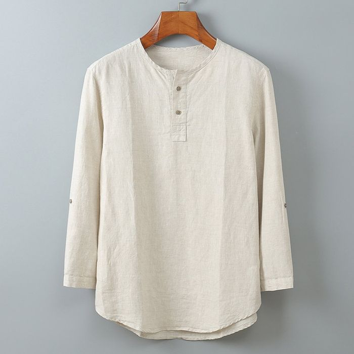 Mens Casual Long Sleeve Cotton Linen Blouse Loose Henley V-Neck Tops T Shirts US