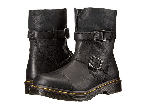 Dr. Martens Kristy Slouch Rigger Boot Black/Virginia Darkend Suede - Zappos.com Free Shipping BOTH Ways