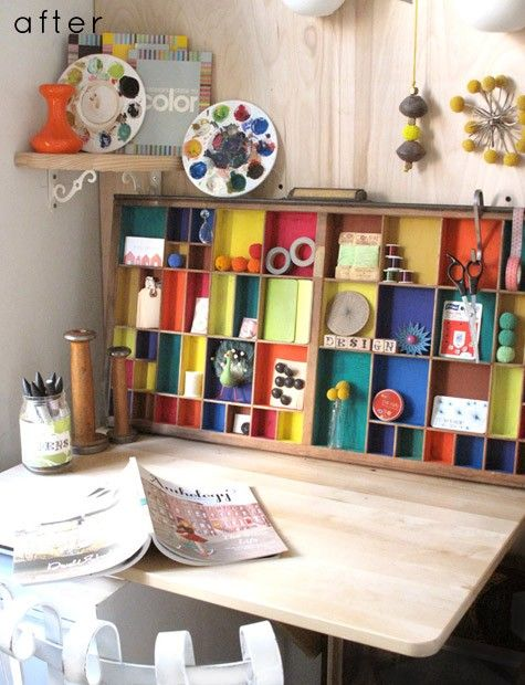 """painted printers tray for storage, dried paint in plastic paint pallet as """"art"""", corner shelf"""
