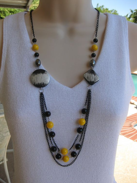 Hey, I found this really awesome Etsy listing at https://www.etsy.com/listing/205379153/long-black-beaded-necklace-multistrand