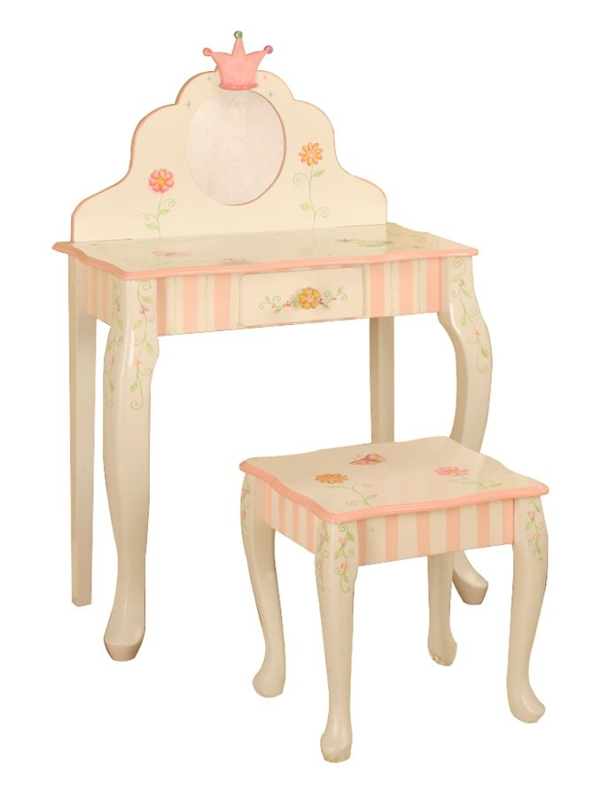 Little Girls Vanity Table And Chair Set - Crown Collection
