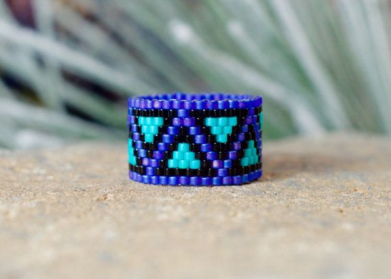 PEYOTE RING  Blue Butterfly