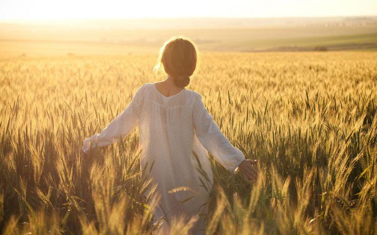 Скачать обои одна, свобода, пшеница, один, поле, девушка ...