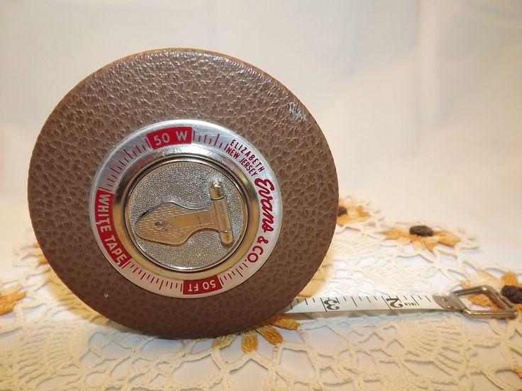 vintage white tape measure 50 ft steel by