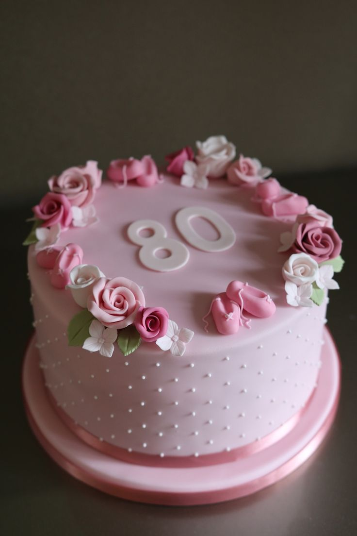 90th Birthday Cake With Lilac Roses And Applique Icing Detail By