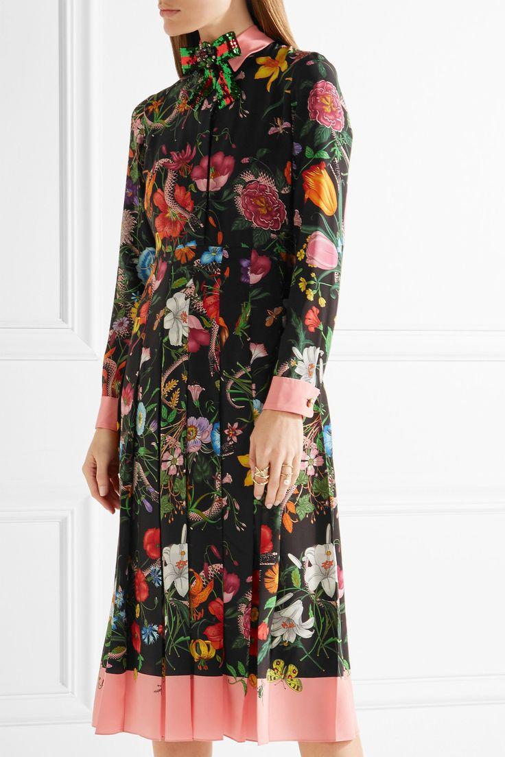 Gucci | Pleated printed silk crepe de chine dress