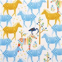 white Show Your Colors Origami zebra fabric yellow-blue Michael Miller USA