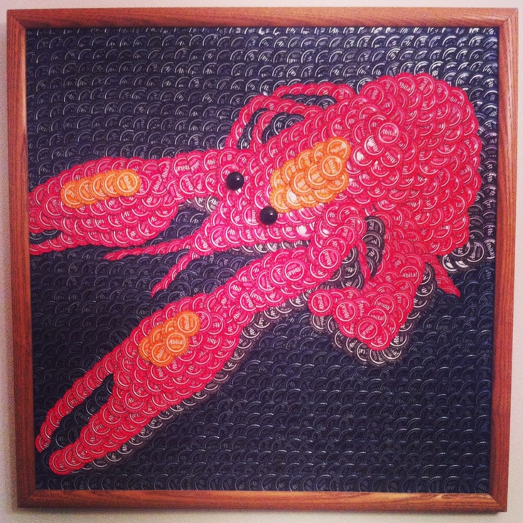 """The Crawfish measures 26"""" x 26"""" and contains almost 1,200 Abita caps. To me, there are few combinations better in this world than hot boiled crawfish and cold Abita beer. This piece was also donated to the Abita Brewing Company to be displayed in their Visitor's Center."""