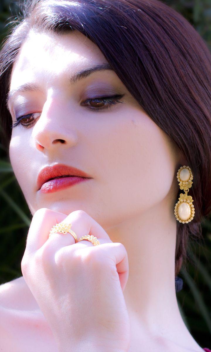 Gorgeous 18K gold filigree earrings with Mother of Pearl.  loredanamandas.com