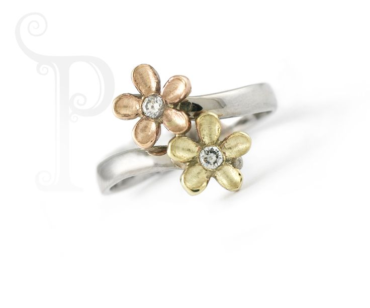 "Handmade 9ct Yellow, White 7 Rose Gold ""Mary: Blossom Ring, Set With small Round Brilliant Cut Diamonds"