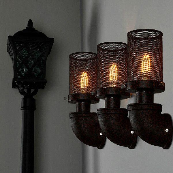 Tubos De Parede Rural ferro forjado lâmpadas e lanternas de pós-moderna clássica engenharia loft iluminação para casa luz, Frete Grátis(China (Mainland))
