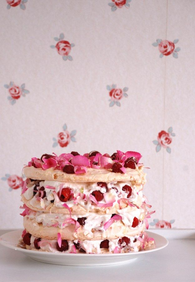 Rosewater, Raspberry and White Chocolate Vacherin (Meringue Cake)