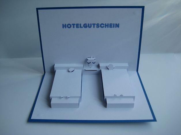 Pop-Up-Karten - Pop up Karte - Hotel-Gutschein - ein Designerstück von Bastel-Preussin bei DaWanda