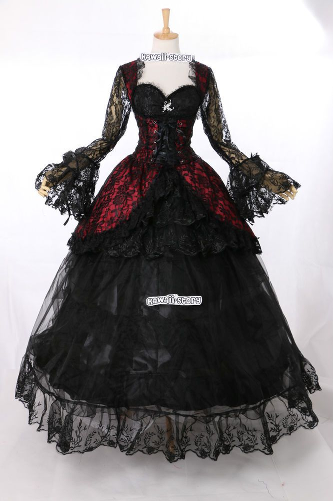 M-3402 Stretch Gothic Victorian Kleid rot schwarz Cosplay Kostüm costume Maß in Kleidung & Accessoires, Kostüme & Verkleidungen, Kostüme | eBay!