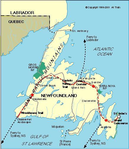 Map of Newfoundland and Labrador, Biking Trails
