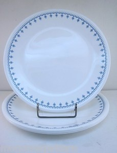 Corning Ware Corelle Snowflake Blue 4 Dinner Plates Set 1970 Vintage Livingware | eBay