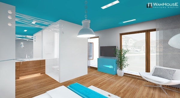 Modern single-family house in Radzymin (Poland) - bedroom with open bathroom full of turquoise color.