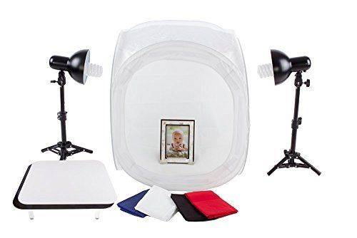 """StudioPRO 24"""" Photo Studio Portable Table Top Product Photography Lighting Tent Lightbox Kit - Includes 4 x Backdrops, 2 x Light Stands, 2 x Magnetic Display Tables, 2 x 30W Daylight Fluorescent Bulbs"""