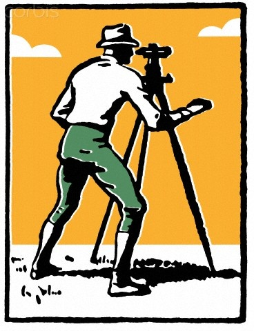 A vintage illustration of a man surveying the land - 42-26215002 - Royalty-Free - Stock Photo - Corbis