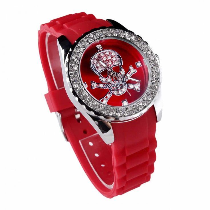 Červené dámské hodinky s plastovým řemínkem. Průměr: 4 cm, hodinový strojek: Quartz. Střední velikost.