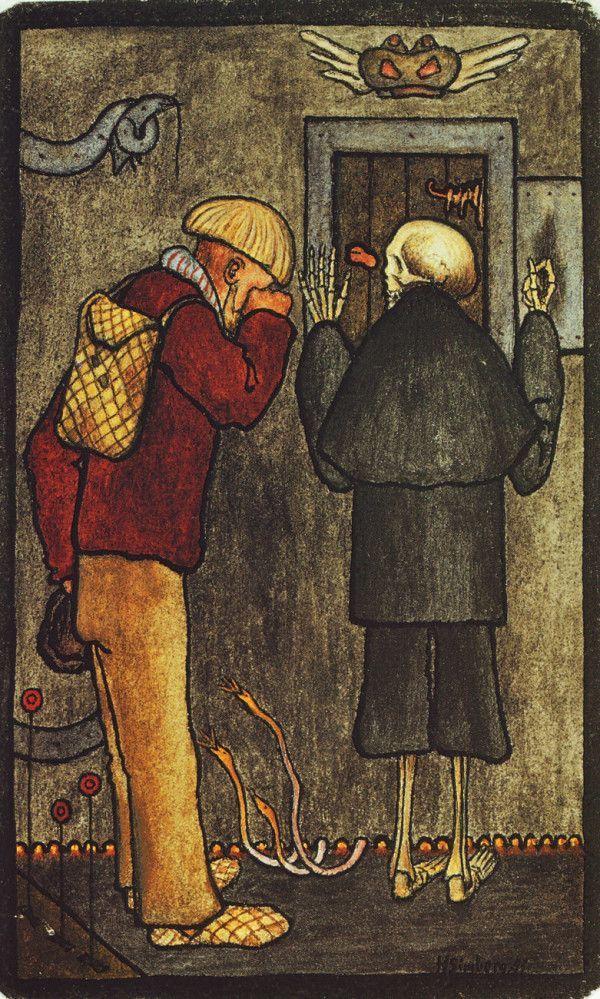Hugo Simberg - Talonpoika ja kuolema helvetin portilla (Peasant and Death at the gate of Hell) (1897)