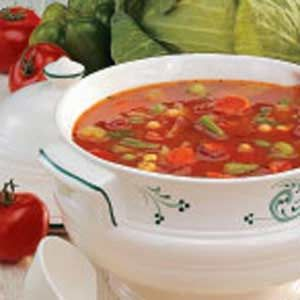 Hearty Vegetable Soup-I have been wanting to find a good vegetable soup recipe! This one looks delicious. With maybe some slight alterations! (Not a big fan of peas. Maybe I'll half the amount)